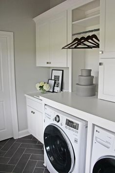 Home Remodel Layout White laundry room with gray herringbone floor.Home Remodel Layout White laundry room with gray herringbone floor White Laundry Rooms, Mudroom Laundry Room, Laundry Room Remodel, Laundry Room Organization, Laundry Room Design, Laundry In Bathroom, Laundry Storage, Laundry Room Floors, Laundry Drying