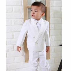 5 Piece White Double Breasted Wedding Bell Boy Boys Dress Suits Tuxedo SKU-132116