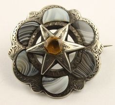 Victorian silver Scottish agate real Cairngorm citrine brooch