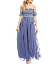 1a486f2b74c0 Shop for Jodi Kristopher Off-The-Shoulder Lace Top Long Two-Piece Dress