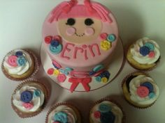 LaLaLoopsy and Matching Cupcakes - All fondant decorations. Cricut Cake used for font.