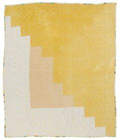 "Linda Pettway - ""Log Cabin""—single-block variation, tied with yarn"