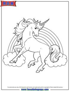 Marvelous Unicorn Horse With Rainbow For Girls Coloring Page