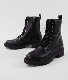 Steve Madden Guided Leather Combat Boot - Women's Source by thebuckle women shoes Combat Boot Outfits, Black Combat Boots, Shoes 2018, Leather Lace Up Boots, Black Lace Boots, Black Leather Shoes, Dress With Boots, Girls Shoes, Fashionable Outfits