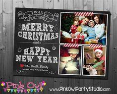Chalkboard Holiday Christmas Printable Photo Card