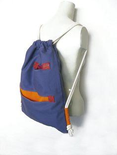 8b11c64d0eac6 Violett-blauen Rucksack Drawstring Cinch Sack von avivaschwarz Turnbeutel