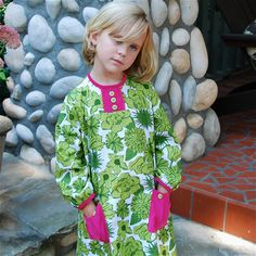 Girls A line dress of modern jumbo  green by SchoolHouseFrock, $51.00