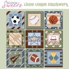 Lil League 8x8 Printable Patchwork by danger0usangel03 on Etsy, $5.00 #sports #printables #wallart #prints #sportwall #kids #childrensroom