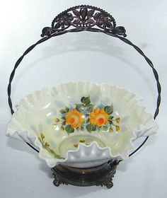 Antique Victorian HP Glass Bowl Silver Plated Basket
