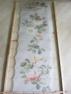 Silk chiffon scarf Hand painted Pastel fashion Grey white green roses - made TO ORDER. $75.00, via Etsy.