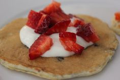 Pancake Roll Up with Yogurt and Fresh Strawberries!