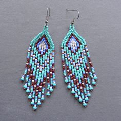 Turquoise and Brown Native American Style Seed by Anabel27shop #beadwork #earrings #jewelry