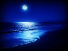 How does the full moon effect you? How do you feel when you go outside on a night with the full moon shining bright? Have you ever experienced anything 'strange' or 'interesting' during a full moon? The Ocean, Ocean At Night, Beach At Night, Ocean Deep, Beautiful Moon, Beautiful Things, Jolie Photo, Beach Landscape, Blue Moon