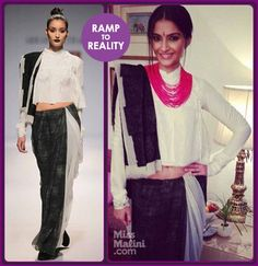 Sonam Kapoor attended Anuja Chauhan's book launch wearing an Abraham & Thakore sari from their Autumn/Winter 2013 collection.