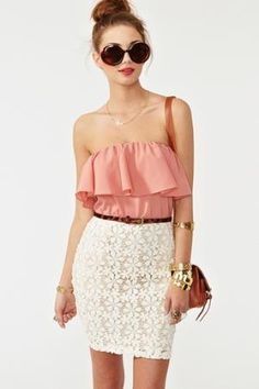 If only the skirt weren't white it'd be great for a guest of wedding outfit. Oh well, for alll my B2B's!!