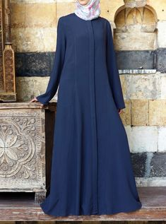 Amina Light Jilbab Dress in Sea Pine Hijab Fashionista, Abaya Fashion, Long Jackets, Buttons, Gowns, Abayas, Couture, Elegant, Coat