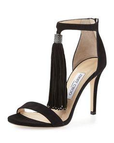 Viola Suede Tassel d\'Orsay Sandal, Black by Jimmy Choo at Bergdorf Goodman.