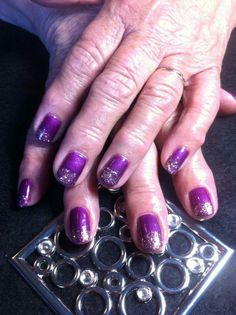 purple and silver gel Polish nails