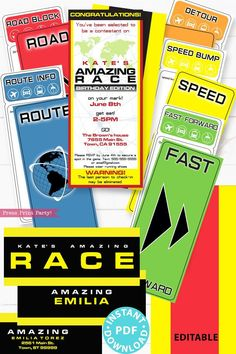 Amazing Race Challenges, Amazing Race Games, Amazing Race Party, Birthday Wishes Messages, Happy Birthday Wishes, Printable Invitations, Party Printables, Invitation Cards, Race Clues
