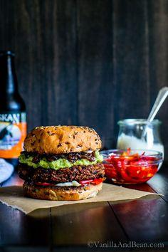 Black Bean Walnut Burgers with Saucy Sweet Onions