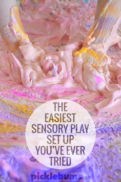 It might look messy but this is one of the quickest, and easiest,sensory play set ups you'll ever try!