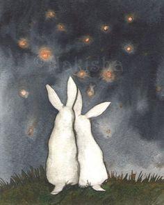 Rabbit Illustration, Illustration Art, Rabbit Pictures, White Rabbits, Rabbit Art, Bunny Art, Painting & Drawing, Watercolor Art, Illustrators