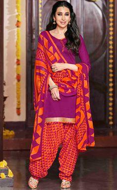 USD 30.25 Karisma Kapoor Pink Cotton Satin Punjabi Suit 47621