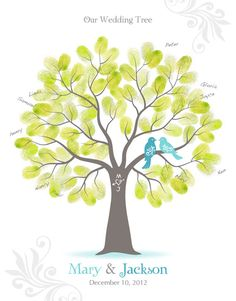 Fingerprint Wedding Tree Guest Book Poster with by TJLovePrints, $32.00