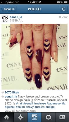 Nails, Nail Art, Nail Design, esNAILS, Long Nails, Oval Nails, Chevrons, Gold Studs, Navy Blue, Beige, Maroon, Burgundy
