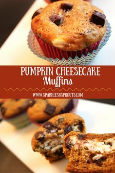A decadent muffin with a cheesecake surprise and chocolate in each bite making this a perfect Fall treat!!