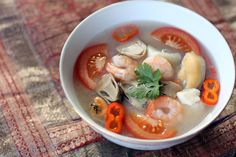 Tom Yum Talay or Thai Seafood Soup is a hot and sour soup made out of mixed seafood like fish, prawns, mussels and squid to name some, it is then flavoured by different spices and herbs