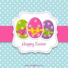 Cartão de páscoa bonito com ovos de páscoa Vetor grátis