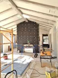 patina farm update: and the walls go white. Stucco Fireplace, Fireplace Doors, Fireplace Surrounds, Fireplace Ideas, Fireplaces, Patina Farm, Italian Farmhouse, Ranch Remodel, Wall Trim
