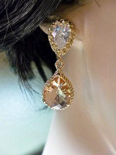 White and Gold Wedding Teardrop, Pear Crystal Rhinestone Earrings. Bridal Earrings. Bridal jewelry Champagne Gold earrings by QueenMeJewelryLLC