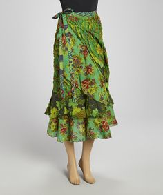 Take a look at this Green Floral Wrap Skirt by The OM Company on #zulily today!