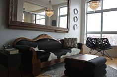 great bohemian mix of black, white, and wood.