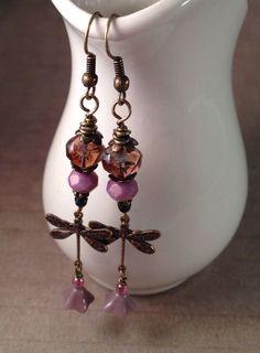 Dragonfly Earrings, Purple Earrings, Lavender Earrings, Czech Glass Earrings, Drop Earrings, Bronze Long Earrings, Dangle Earrings Picasso