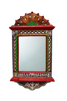 Adorn this aristocratic Wall Mirror, magnificiently handcrafted from Mango wood…