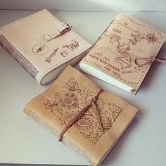 Leather journals / handmade / original bookbinding / pyrography / map / book / by Ardeas http://www.ardeas.sk/