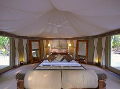 "A Guide to ""Glamping"" Around the World: Banyan Tree Madivaru, Madivaru, Maldives Camping Glamping, Luxury Camping, Glam Camping, Camping Resort, Jeep Camping, Cabin Tent, Luxury Tents, Resort Spa, Campers"