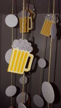 Beer Mug Garland 10 foot long - Double sided for a finished look all the way around. Beer Mug Garland 10 foot long - Double sided for a finished look all the way around. 30th Birthday Party Themes, Beer Birthday Party, Surprise 30th Birthday, Birthday For Him, Birthday Cake, 40th Birthday Ideas For Men, Guys 21st Birthday, 30th Party, Beer Decorations