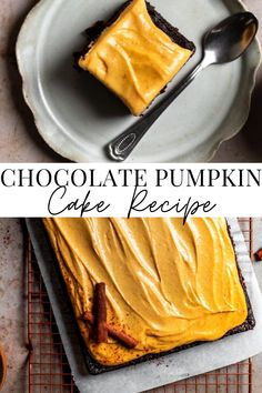 This chocolate pumpkin cake is the best pumpkin sheet cake you can make. It is so incredibly fluffy, and the pumpkin cream cheese frosting just takes it over the top! You are going to be SO into this cake all year round! #ChocolatePumpkinCake #EasyFallRecipes #FrostingandFettuccine Chocolate Pumpkin Cake, Best Chocolate Cake, Delicious Chocolate, Chocolate Recipes, Pumpkin Cake Recipes, Best Cake Recipes, Pumpkin Dessert, Easy Desserts, Dessert Recipes