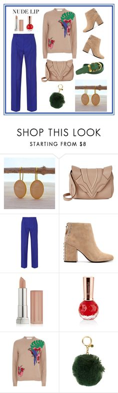 """""""Nude"""" by evanangel ❤ liked on Polyvore featuring Elena Ghisellini, Jonathan Saunders, Senso, Maybelline, Valentino, MICHAEL Michael Kors and Louis Vuitton"""