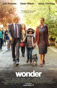 Directed by Stephen Chbosky.  With Jacob Tremblay, Owen Wilson, Izabela Vidovic, Julia Roberts. Based on the New York Times bestseller, WONDER tells the incredibly inspiring and heartwarming story of August Pullman, a boy with facial differences who enters fifth grade, attending a mainstream elementary school for the first time.