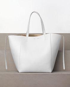CÉLINE fashion and luxury leather goods 2012 Winter collection - Cabas Phanton Medium in Calfskin White