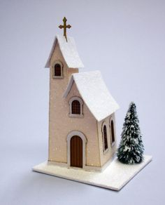how to: making glitter houses (link for how to glitter the buildings… Christmas Village Houses, Putz Houses, Christmas Villages, Christmas Home, Vintage Christmas, Christmas Crafts, Christmas Decorations, Christmas Ornaments, Xmas