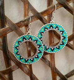 Turquoise, black, and red delicas Gold beads. Beaded earrings Turquoise earrings Women's - www. Seed Bead Earrings, Women's Earrings, Beaded Jewelry, Handmade Jewelry, Jewellery, Gold Jewelry, Native American Earrings, Bijoux Diy, Turquoise Earrings