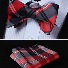 Luxusný hodvábny set - motýlik a vreckovka v červeno-čiernej farbe