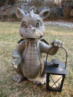 Gartendrache mit Teelicht Laterne Drache Figur Gargoyle Solarlaterne Garten in Garten & Terrasse, Dekoration, Gartenfiguren & -skulpturen | eBay