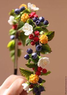 """Купить Ободок """"Лесная ягодка"""" - ободок, ободок для волос, ободок с ягодами, модный аксессуар, черника"""